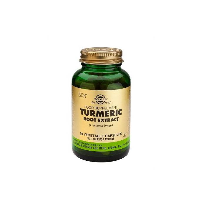 Turmeric-Extracto de raíz de Cúrcuma  60 vegicap Solgar
