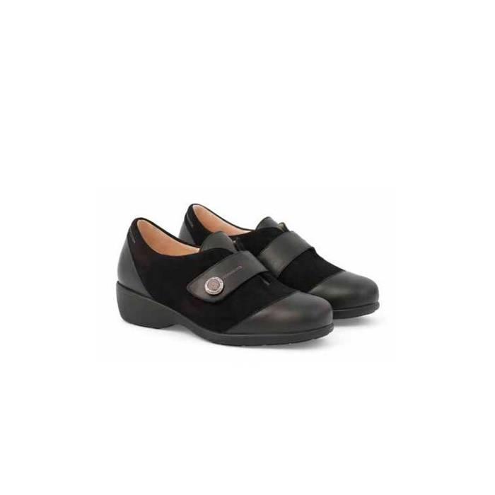 Zapato Señora Velcro Pala Piel 1998 Negro